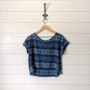 Hollister Tribal Print Cropped Tee